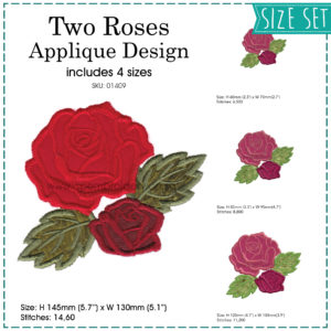 red roses rose green leaves simple red valentine's flowers applique embroidery design