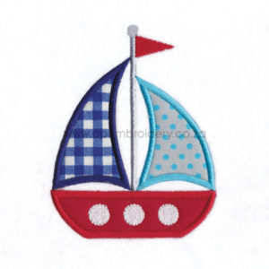 2 sails red blue white 3 windows sailboat embroidery pattern for machines